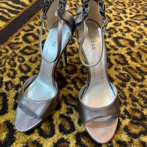 Guess silver heels with ankle strap and ruffle